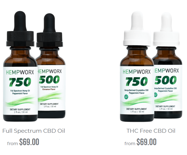 Hempworx CBD Oil full spectrum and isolate